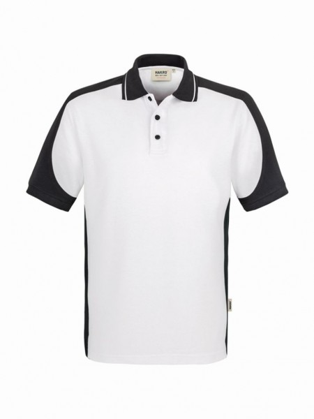 HAKRO® Poloshirt Contrast Performance weiß/anthrazit - Front