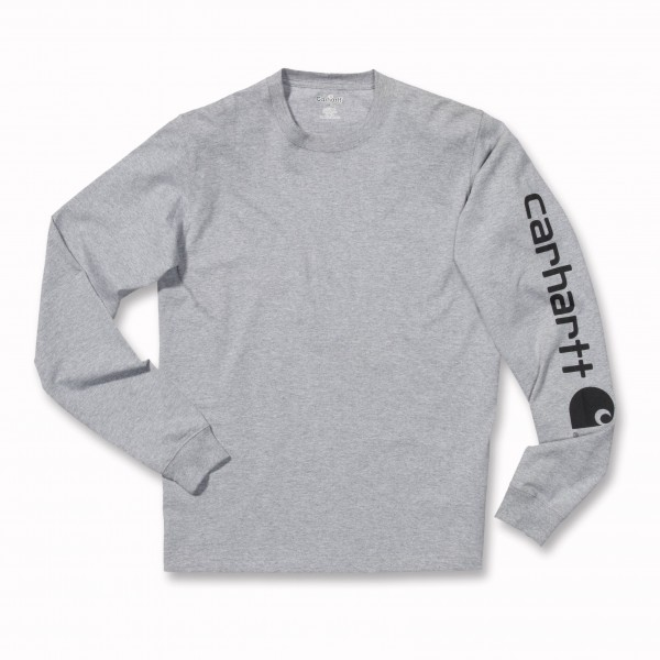 Carhartt Logo Long Sleeve T-Shirt in heather grey