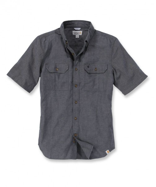 Carhartt Fort Solid Short Sleeve Shirt in black chambray