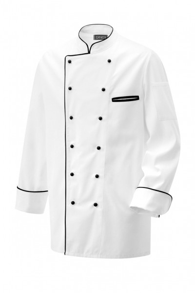 Exner Kochjacke langarm mit Paspel in schwarz