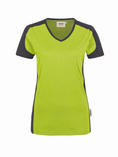HAKRO® Damen-V-Shirt Contrast Performance - Front