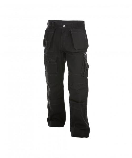 DASSY Texas Canvas Multitaschen-Bundhose mit Kniepolstertaschen schwarz - Front
