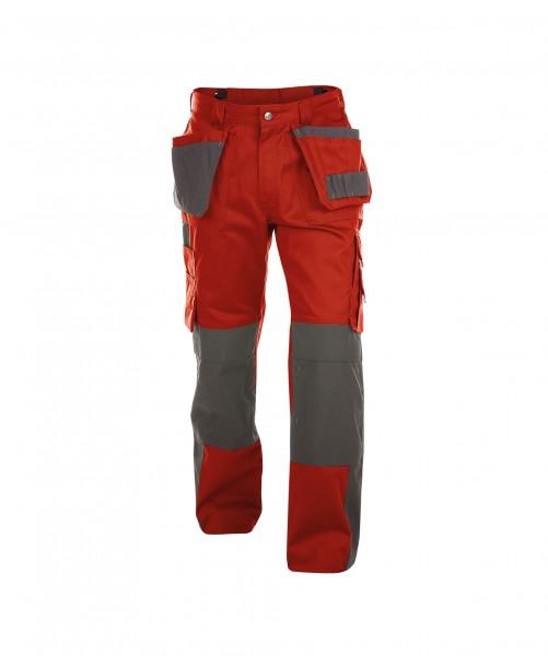DASSY Seattle Multitaschen-Bundhose mit Kniepolstertaschen rot/grau - Front