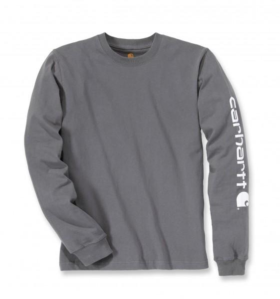 Carhartt Logo Long Sleeve T-Shirt in charcoal