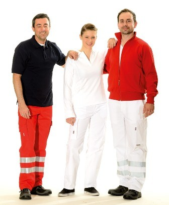 Bücking dreinaht® Einsatz-Hose weiß mit 3-M Reflexstreifen silber