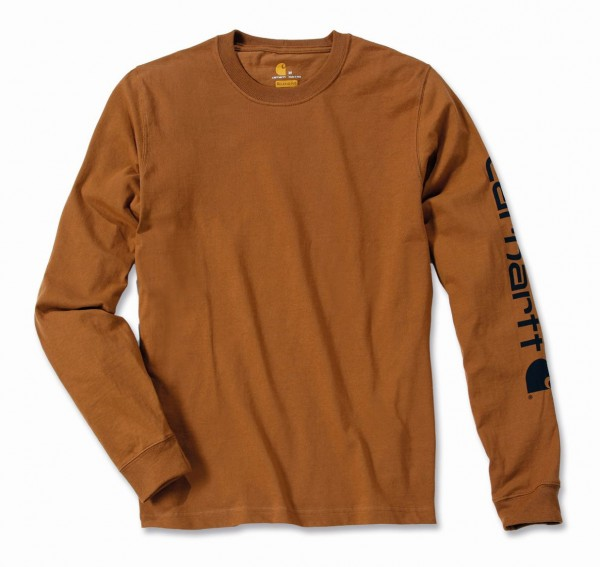 Carhartt Logo Long Sleeve T-Shirt in carhartt brown